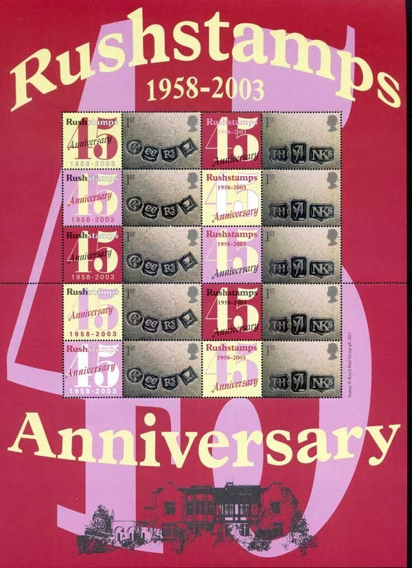 2003 GB - RU-002 - Rushstamps 45th Anniversary Smiler Sheet MNH