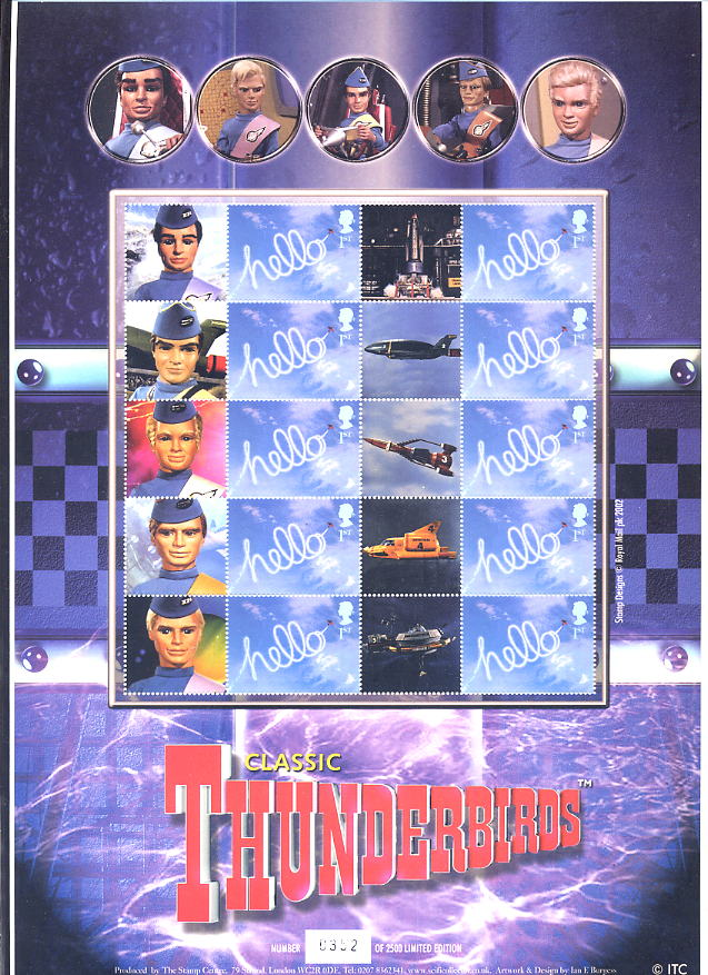2004 GB - TV01 - Classic Thunderbirds Smiler Sheet MNH