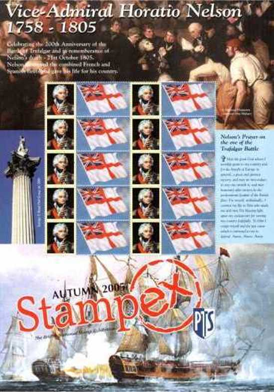 2005 GB - BC-070 - Stampex Autumn Horatio Nelson Smiler Sheet