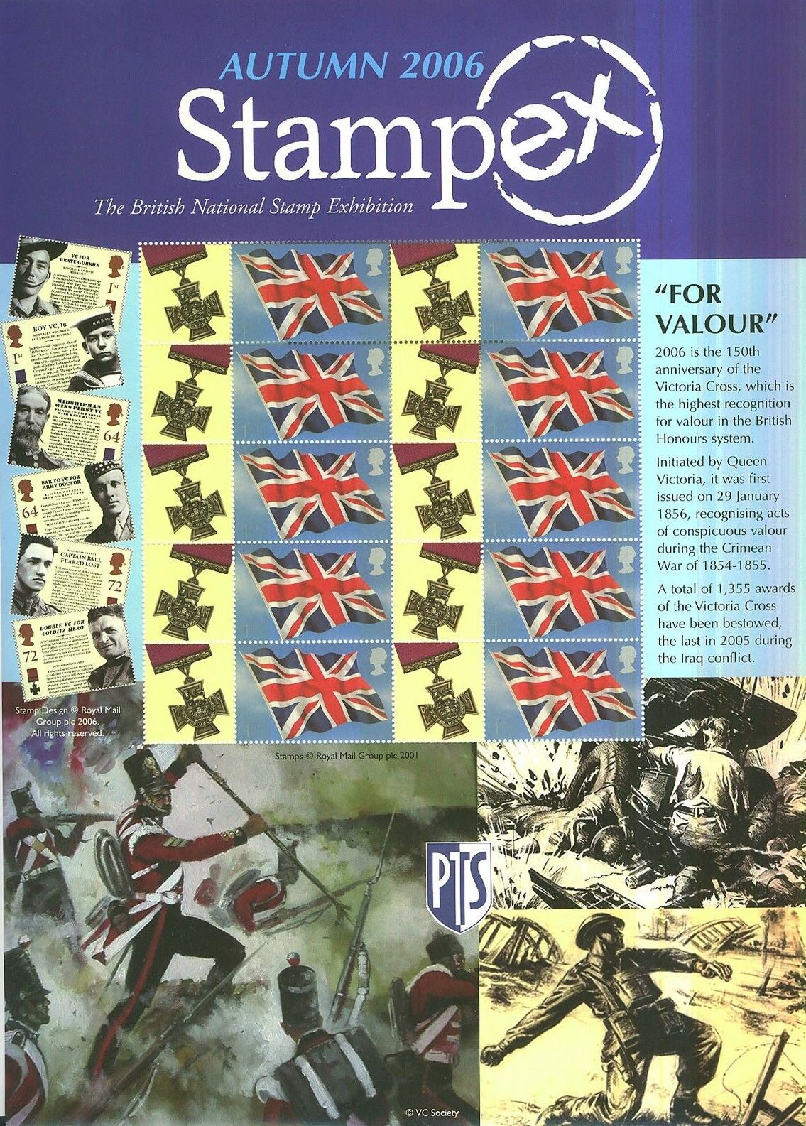 2006 GB - BC-095 - Stampex Autumn For Valour Smiler Sheet