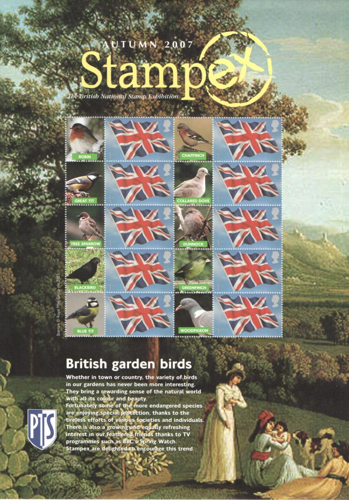 2007 GB - BC-116 - Stampex Autumn Garden Birds Smiler Sheet