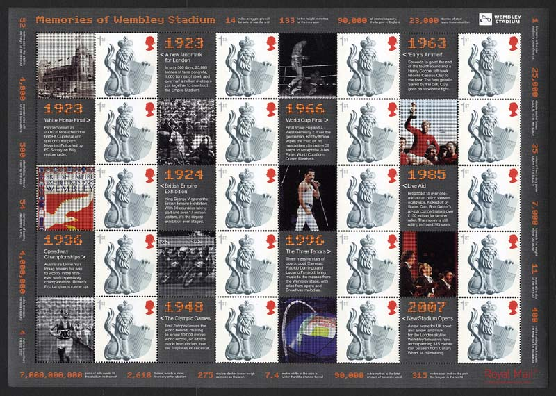 "2007 GB - LS39 - ""Opening of Wembley"" Smiler Sheet (Reprint) MNH"