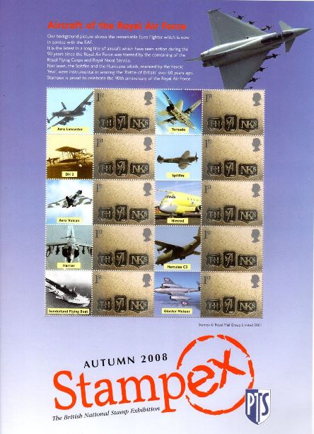 2008 GB - BC-167 - Stampex Autumn RAF Aircraft Smiler Sheet