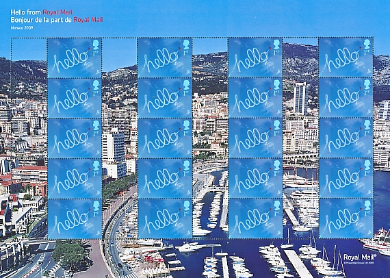 "2009 GB - LS69 - ""Hello from Monaco"" Smiler Sheet MNH"