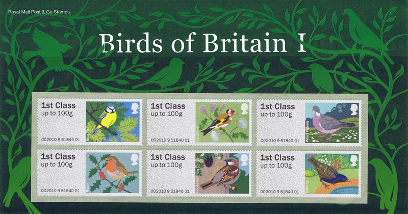 "2010 GB - FS6 Post & Go Birds I Pres Pack set of 6 ""1st class"""