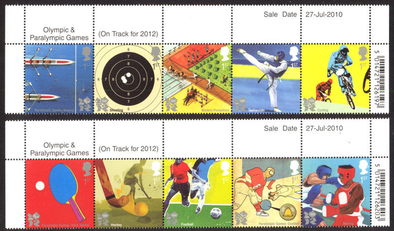 2010 GB - SG3097-06 Olympic Games (3rd Issue - Marginal) MNH