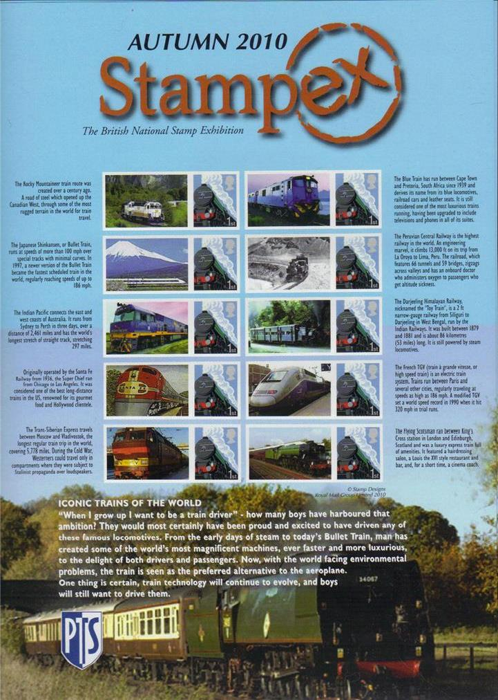2010 GB - BC-312 - Stampex Autumn Iconic Trains Smiler Sheet