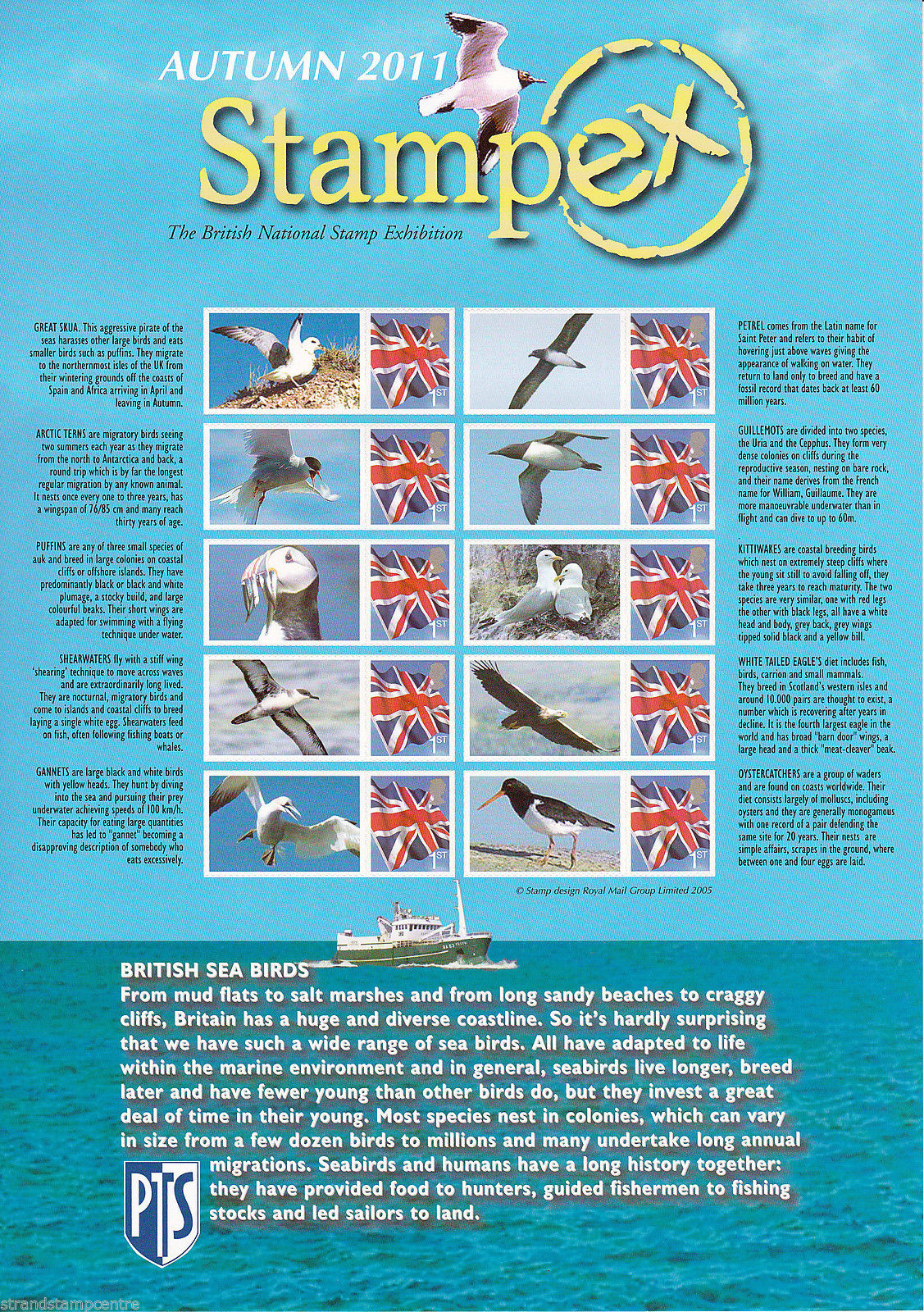 2011 GB - BC-350 - Stampex Autumn Seabirds Smiler Sheet