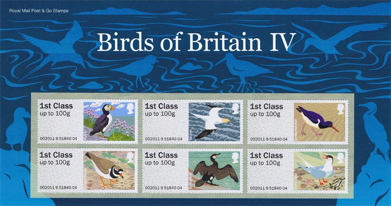 "2011 GB - FS21 Post & Go Birds IV Pres Pk set of 6 ""1st class"""
