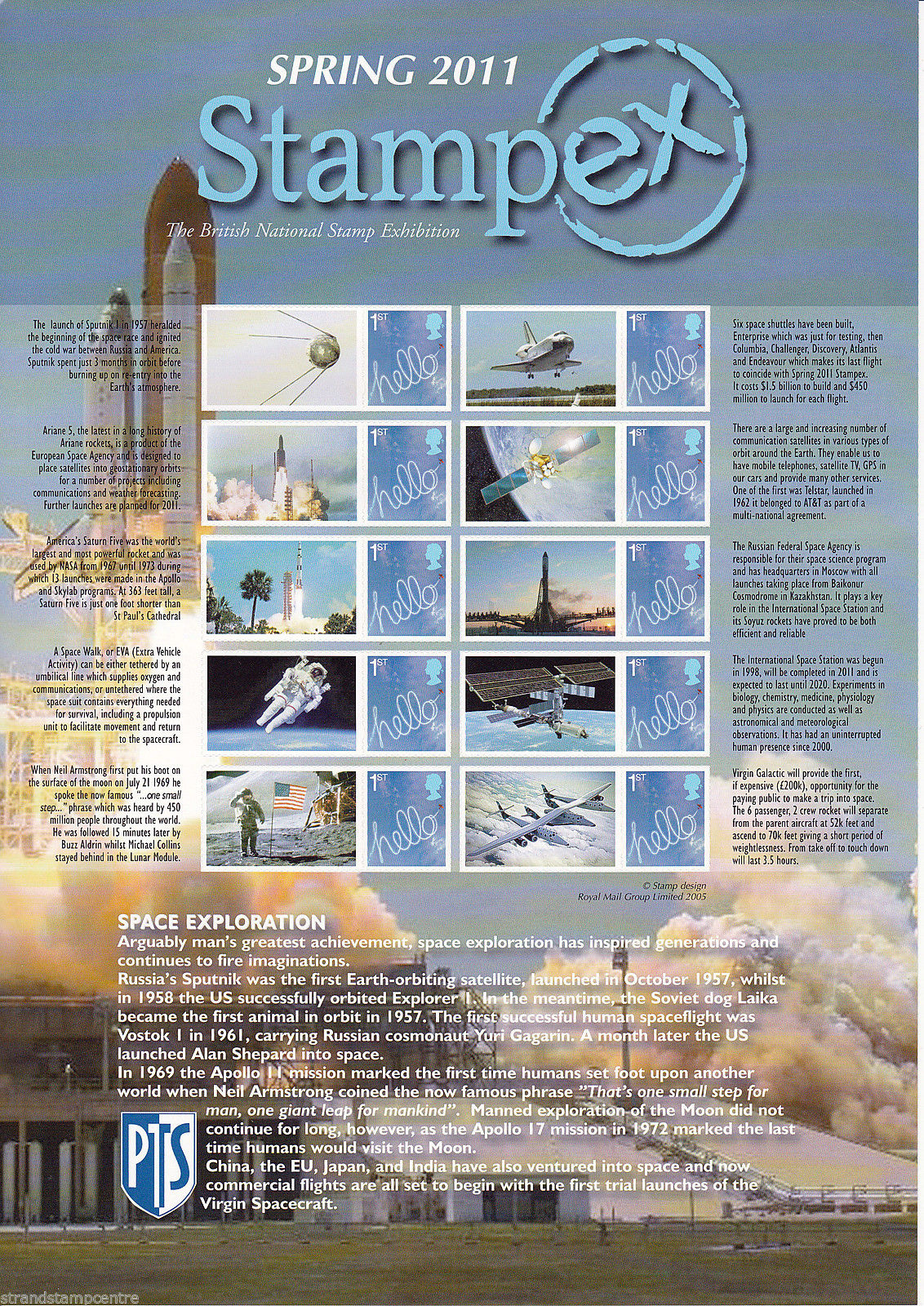 2011 GB - BC-332 - Stampex Spring Space Exploration Smiler Sheet