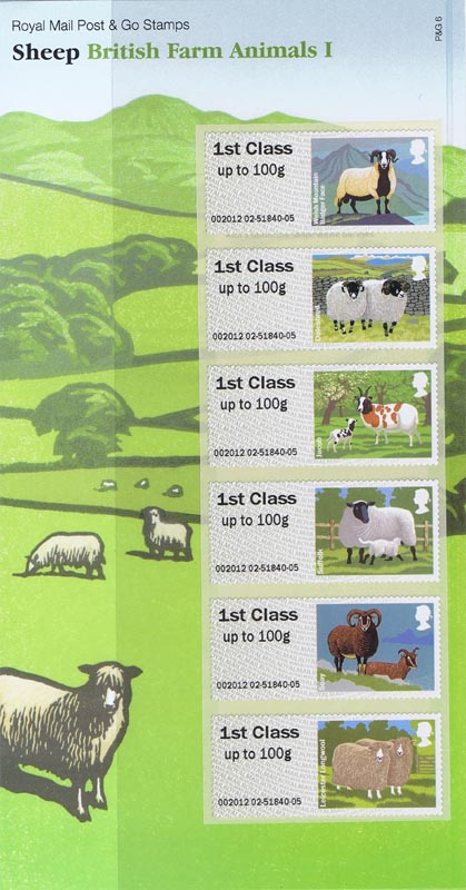 "2012 GB - FS27 Post & Go Sheep Pres Pack set of 6 ""1st class"""