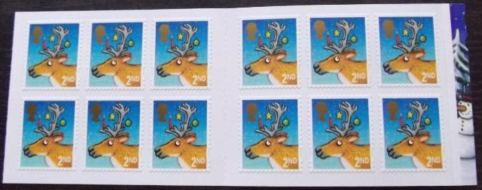 2012 GB - LX43 - 12 x 2nd Class - Xmas Reindeer (Plain)