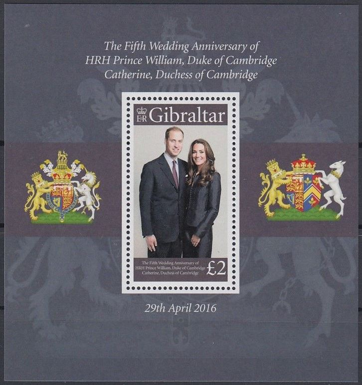 2016 GIB - SGMS???? Prince William/Kate 5th Wedding Anniv MS MNH