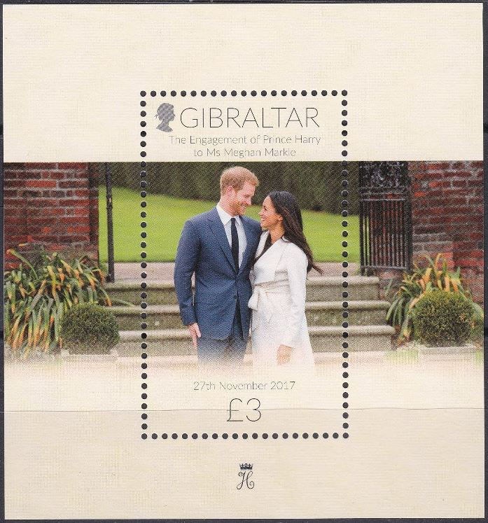 2018 GIB - SGMS???? Prince Harry and Meghan Engagement MS MNH
