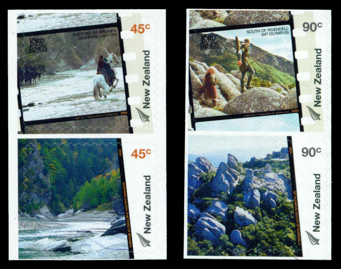 2004 NZ - Lord of Rings Middle Earth Set (4) S/A Pairs MNH
