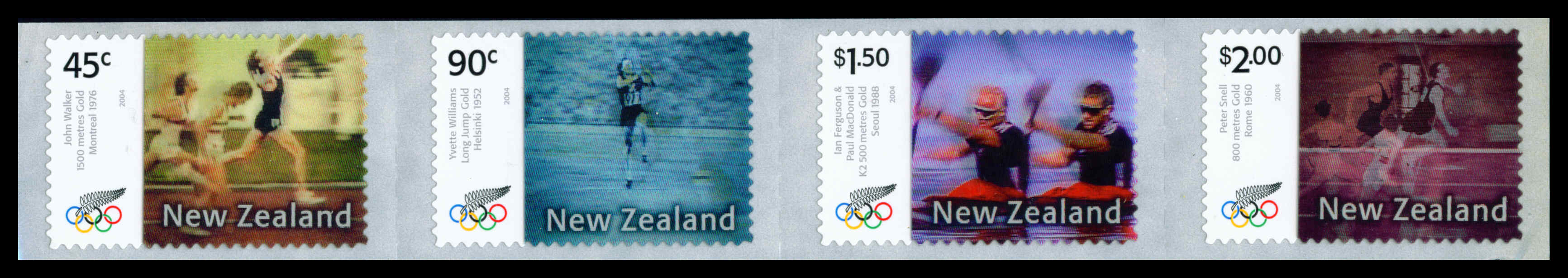 2004 NZ - Olympic Games Gold Medal Winners S/A Strip (4) MNH