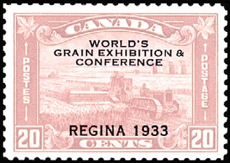 1933 CDN - SG330 20¢ World Grain Exhibition O/P REGINA MM