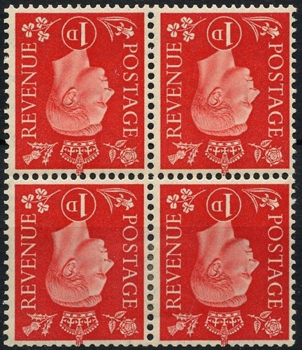 1937 GB - SG463Wi 1d Scarlet Inverted Watermark Blk of 4 CDS VFU