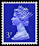 1971 GB - SGX855b (U101b) 3p Blue (H) Missing Phosphor Mrgnl MNH