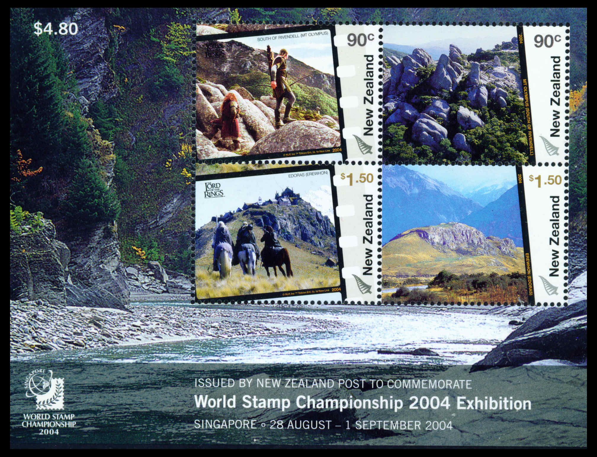 2004 NZ - Lord of Rings Stamp Exhibition Singapore M/S MNH