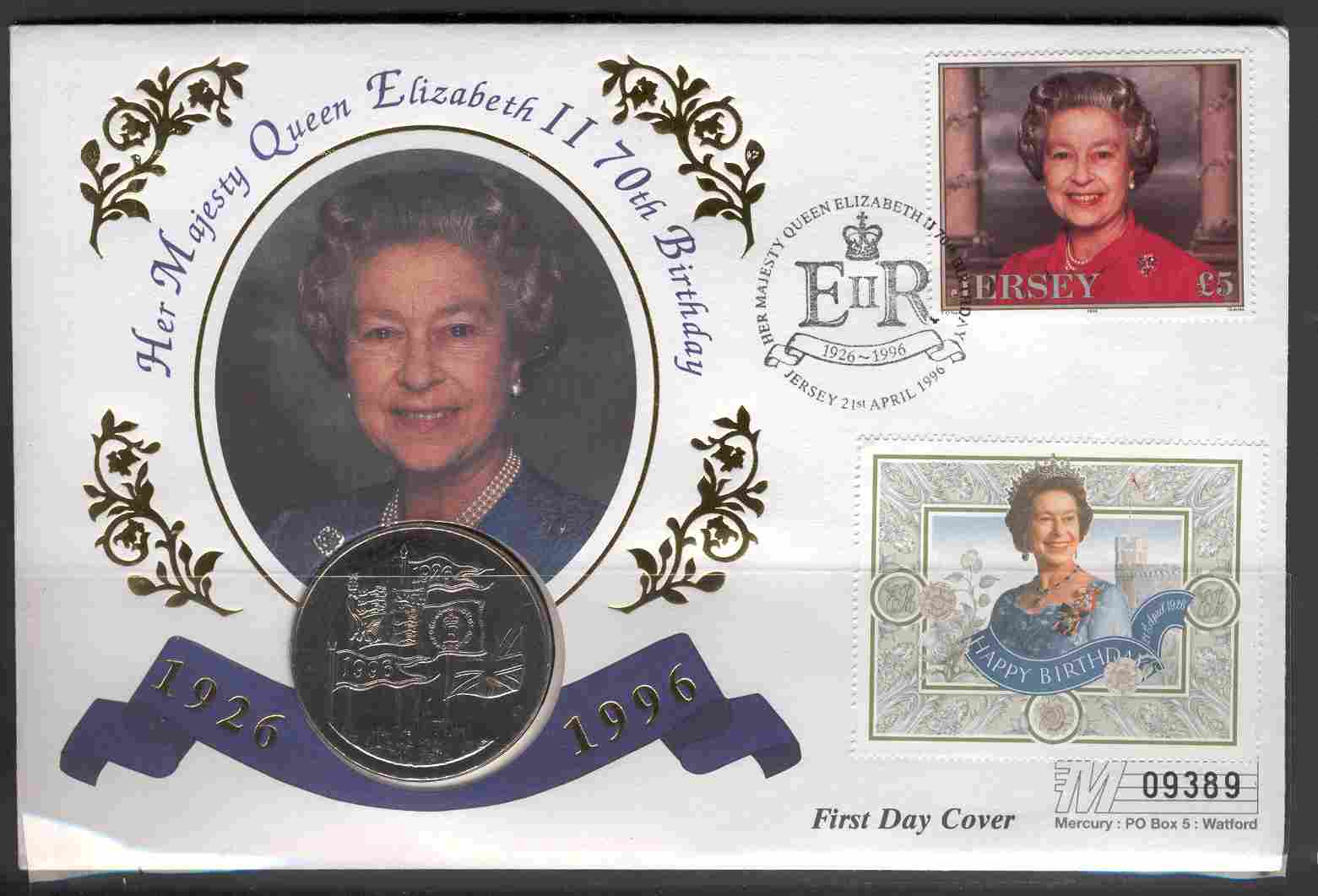 1996 Jersey - 70th Birthday of Queen Elizabeth II - Coin Cover