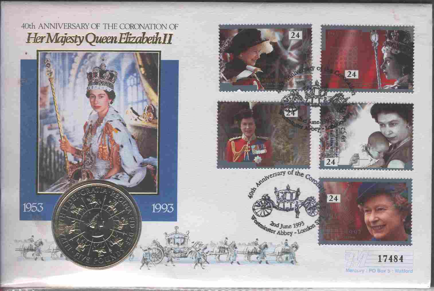 1993 GB - 40th Anniv of Queen Elizabeth II - Coin Cover (1)