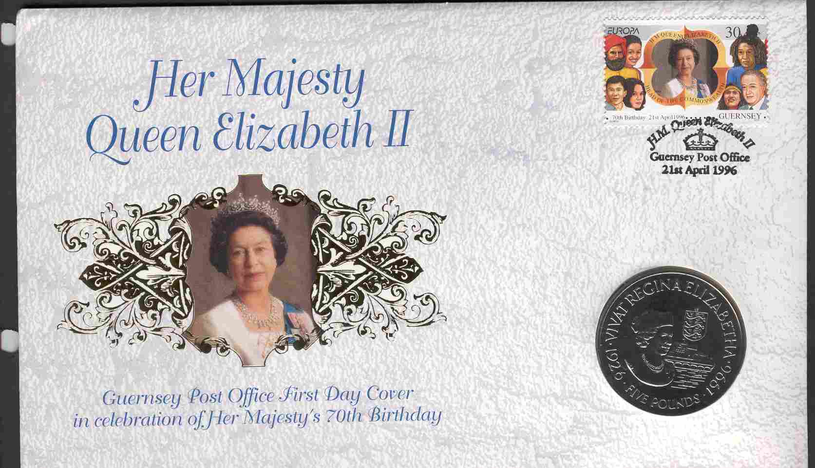 1996 Guernsey - 70th Birthday of Queen Elizabeth II - Coin Cover