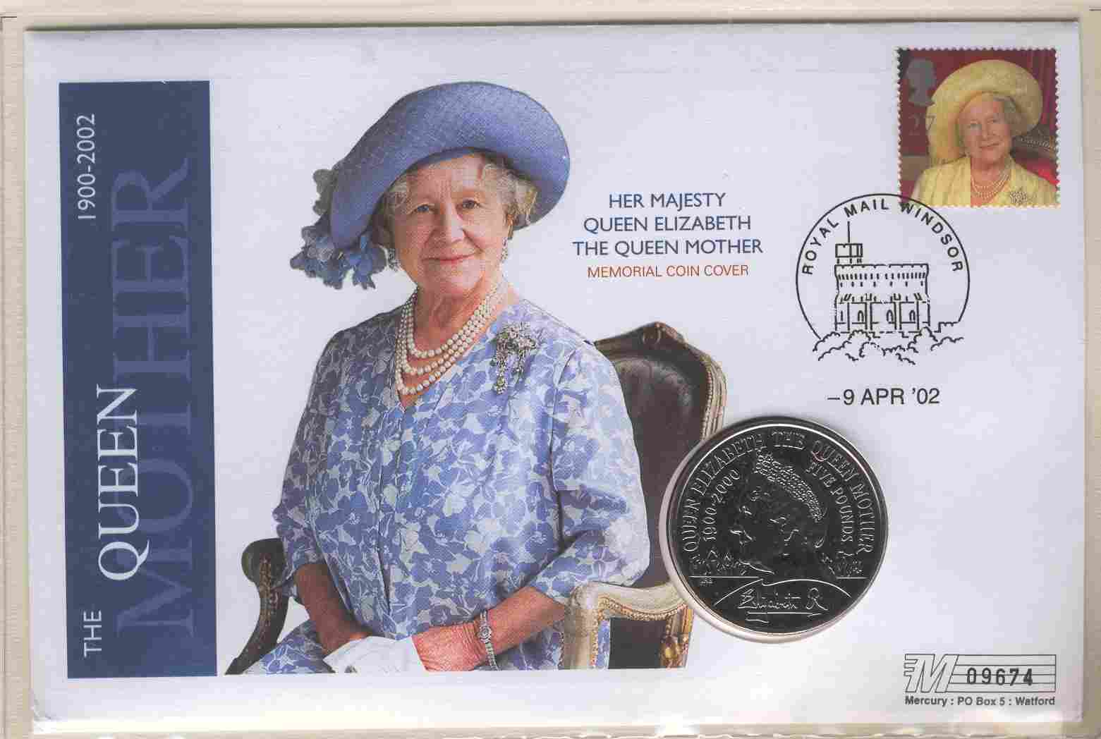 2002 GB - Queen Mother Memoriam Crown - Coin Cover