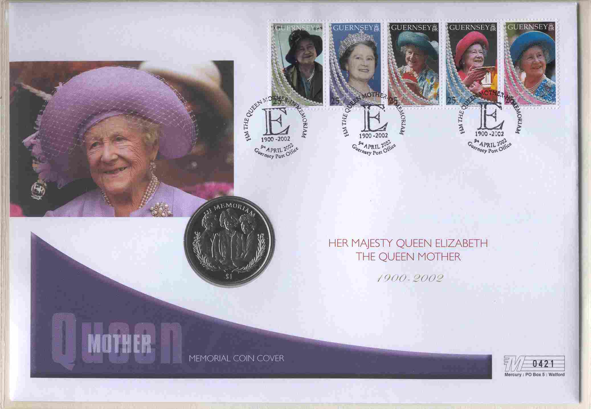 2002 Guernsey - Queen Mother Memoriam Crown - Coin Cover (1)