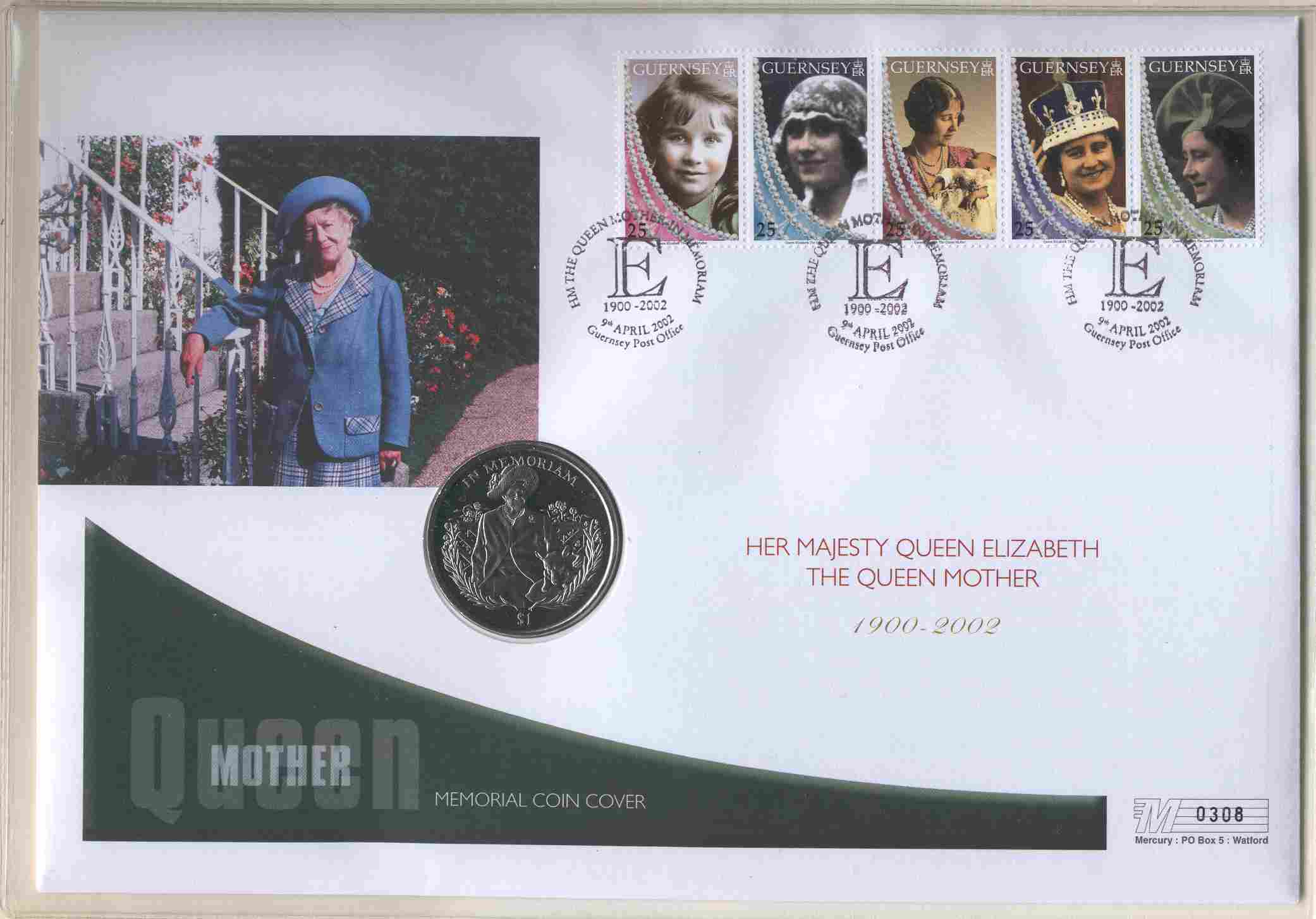 2002 Guernsey - Queen Mother Memoriam Crown - Coin Cover (2)