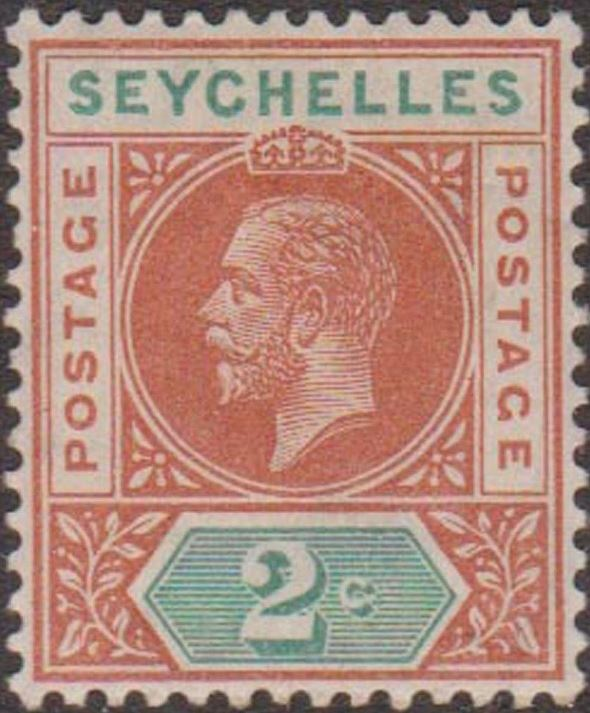 1912 - SEY - SG71 2¢ Brown Red from George V Definitive Set MM