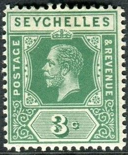 1917 - SEY - SG83 3¢ Green from George V Definitive Set MM
