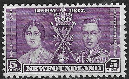 1937 Newfoundland - SG256 GVI Coronation 5¢ MM
