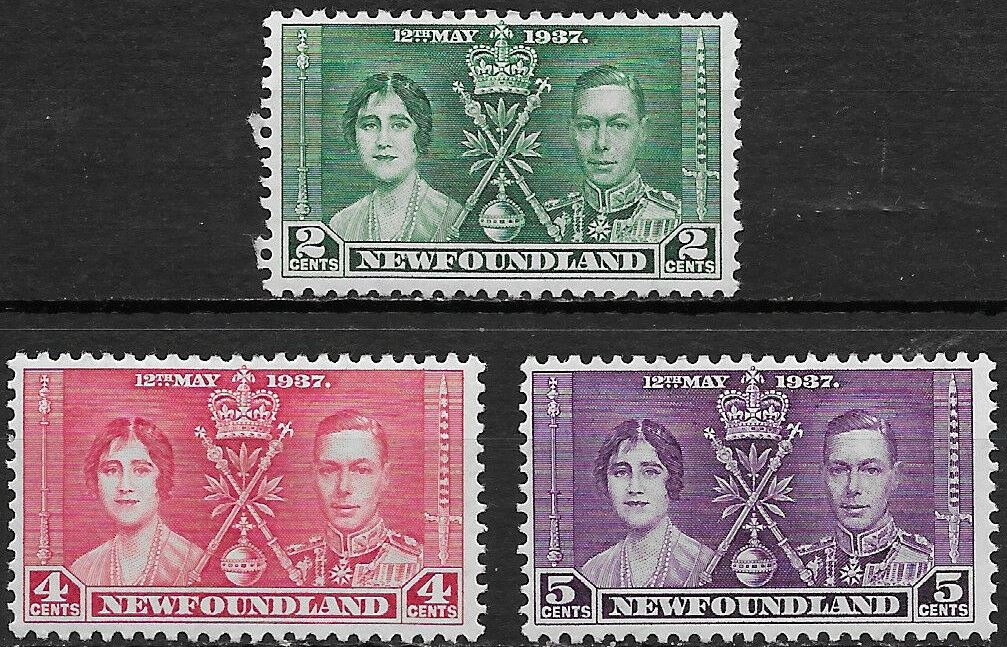 1937 Newfoundland - SG254-56 GVI Coronation Set (3) MM