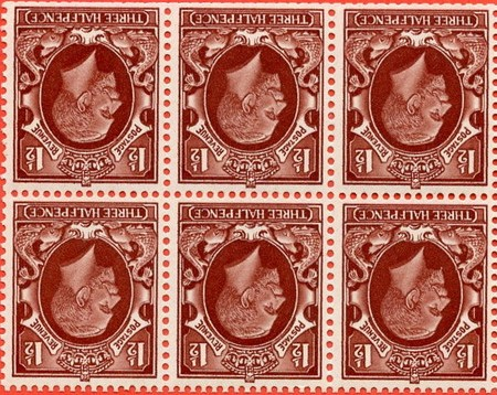 1934 GB - SG441wi Booklet Pane (6) Inverted Wmk Used