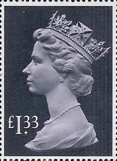 1984 GB - SG1026c (UF3) £1.33 (H) Tall High Value MNH