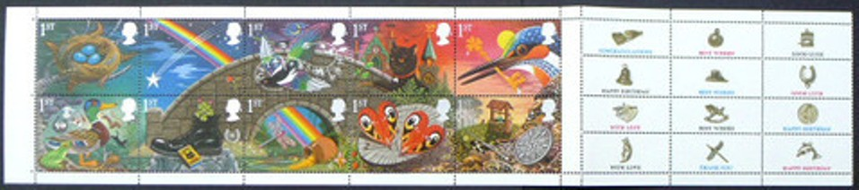 1991 GB - SG1536a - Greetings Lucky Se-tenant Block (10) VFU
