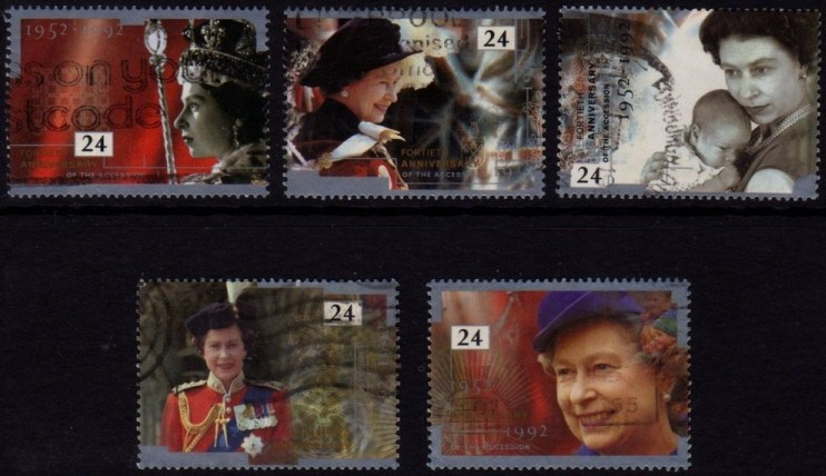 1992 GB - SG1602-6 - 40th Accession Anniversary Singles (5) FU