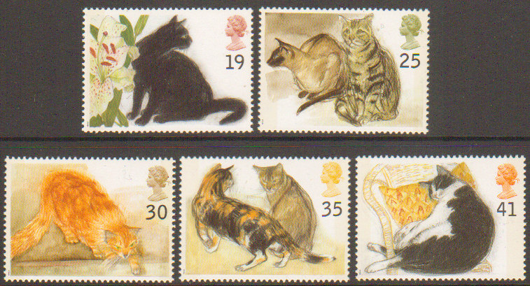 1995 GB - SG1848-52 - Cats Set (5) FU