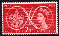 1957 GB - World Scout Jubilee Jamboree (2½d) MNH