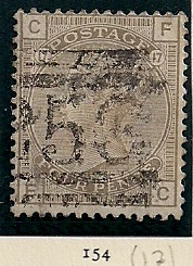 "1880 GB - SG154 4d Plate 17 Grey Brown (""CF"") GU"