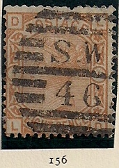 "1876 GB - SG156 8d Plate 1 Orange (""DL"") GU (1)"