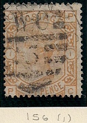 "1876 GB - SG156 8d Plate 1 Orange (""PC"") GU (3)"