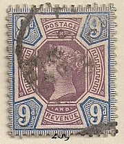 1887 GB - SG209 9d Dull Purple and Blue VFU