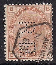 "1881 GB - SG163 1/- Plate 14 Orange-Brown (""BB"") Perfin ""RB"" FU"