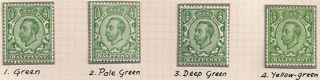 1912 GB - SG344 ½d x 4 Shades of Green (Spec N5) VLMM (1)