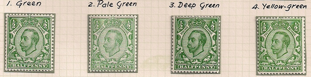 1912 GB - SG344 ½d x 4 Shades of Green (Spec N5) VLMM (2)
