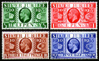 1935 GB - SG453-56 Silver Jubilee Set (4) Left Marginal MNH