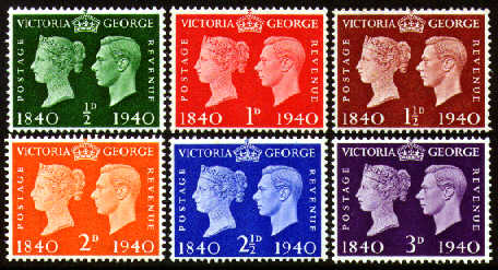 1940 GB - SG479-84 Centenary of First Postage Stamps Set (6) MNH
