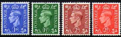 1951 GB - SG504a-7a Watermark Sideways Set of 4 from Coils MNH